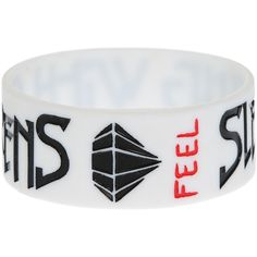 Sleeping With Sirens Feel Rubber Bracelet | Hot Topic ($7) ❤ liked on Polyvore featuring jewelry, bracelets, accessories, rubber bracelets, sleeping with sirens, rubber bangles, white jewelry and rubber jewelry