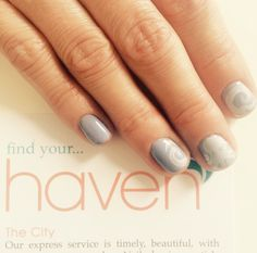 Heather gray  nails with white designs