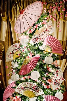 Our Asian inspired Hawaii Christmas Tree for 2013 ♥ asian christmas tree, asian inspired christmas tree, pink, white, cherry blossom, paper fan, parasol, origami, paper lantern, handmade, diy, cute