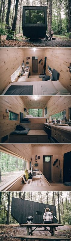 A tiny house located in the woods of upstate New York. Available for nightly rental through getaway. A tiny house located in the woods of upstate New York. Available for nightly rental through getaway. Tyni House, Tiny House Living, Casas Containers, Tiny House Design, Cabins In The Woods, Prefab, Little Houses, Glamping, Future House