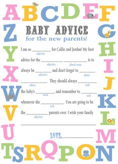 Baby Shower Mad Libs Game