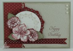 "SU Card. Stamps: Everything Eleanor, French Foliage, Elementary Elegance (R)  Cardstock: Cherry Cobbler, Whisper White, Sahara Sand. DSP Patterns Stacks: Regals Collection, Neutrals Collection. Ink: Cherry Cobbler, Sahara Sand. Cherry Cobbler Scallop Dots Ribbon, Pearls. Tools: Sizzix Sizzlits Large Delicate Doilies, 2 1/2"" Circle Punch, EK Success Dble Crochet Lace Border Punch, Sponges, Stamp-a-ma-jig, Double Sided Tape, Dimensionals."