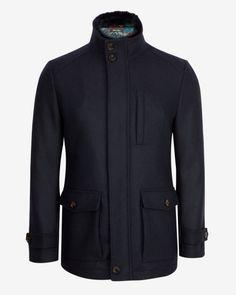 Wool pocket coat - Navy | Jackets & Coats | Ted Baker