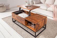 Industriálny stolík do obývačky z masívu a kovu 110cm.