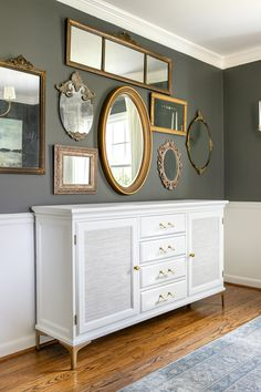 Footed Grasscloth Buffet Makeover   How we transformed a bulky thrifted piece of furniture into a chic modern glam buffet. #furniture #makeover