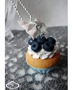 "Collier sautoir ""Cupcake"" myrtille - Bijoux fantaisie gourmands"