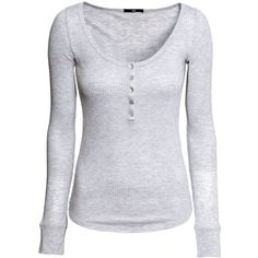 H&M Ribbed top (76 VEF) ❤ liked on Polyvore featuring tops, shirts, blusas, long sleeves, light grey, h&m, long sleeve shirts, ribbed shirt, h&m tops and button shirts