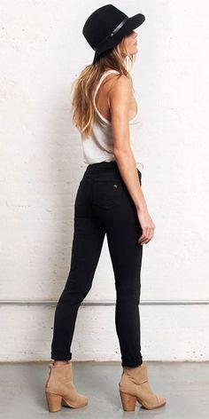 Denim shirt under black blazer and black skinnies - perfect street chic style!