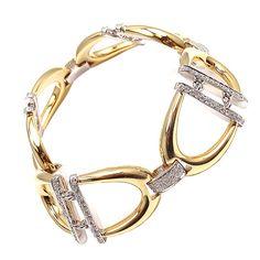 ROBERTO COIN Diamond Horse Bit Yellow Gold Bracelet