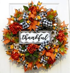 Your place to buy and sell all things handmade Fall Wreaths, fall front door wreath, t. Fall Mesh Wreaths, Autumn Wreaths For Front Door, Holiday Wreaths, Door Wreaths, Wreath Fall, Fall Deco Mesh, Thanksgiving Wreaths, Buffalo Check, How To Make Wreaths