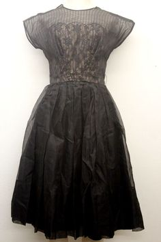 Ladies Vintage 50s Black Silk Lace Party Dress sz: Small Vintage (# 12393)