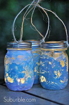 mason jar lanterns craft with kids, crafts, decoupage, mason jars, repurposing upcycling Kids Crafts, Creative Crafts, Diy Crafts For Kids, Kids Diy, Craft Ideas, Creative Art, Glow Crafts, 31 Ideas, Glow Stick Jars