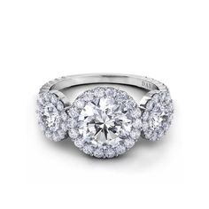 Danhov Carezza Three Stone Diamond Engagement Ring with Halo