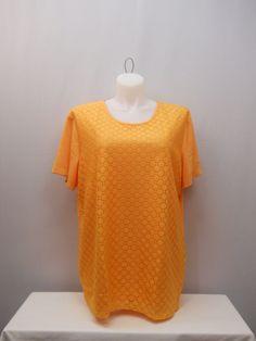 PLUS SIZE 3X Women's Knit Top SARA MORGAN Solid Peach Lace Front Short Sleeves #SaraMorgan #KnitTop #Casual