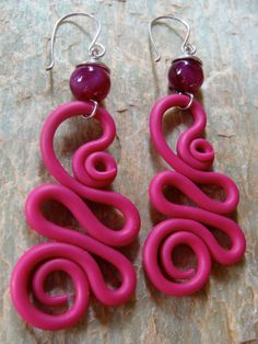 Handcrafted Hot Pink Clay Earrings