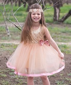 Love this Blush Sequin Ribbon Dress - Toddler & Girls by Sweet Charlotte on #zulily! #zulilyfinds