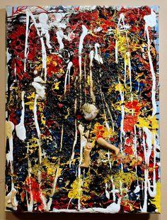 w.sito- Kobiety przy sianokosach (mixed media, human parts & garbage on canvas, 30x30cm)