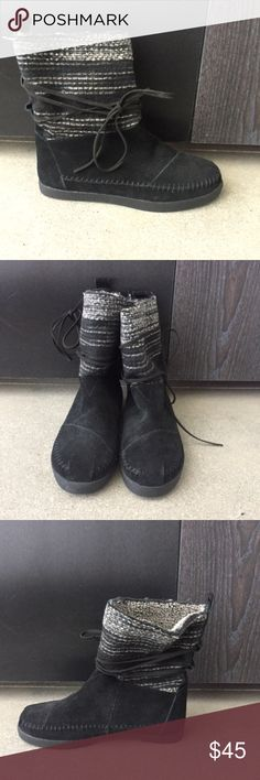 TOMS Nomad Boot NWT Sz 5.5 TOMS Nomad Boot in black suede with wool marled shaft. Beautiful whipstitching detail, faux leather laces, and two tone blackish faux fur lining. (Does not come with box or shoe bag.) TOMS Shoes Winter & Rain Boots