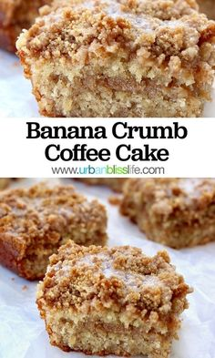 Banana Crumb Coffee Cake recipe is a delicious make-ahead brunch or afternoon tea dessert. Recipe on This Banana Crumb Coffee Cake recipe is a delicious make-ahead brunch or afternoon tea dessert. Recipe on Brownie Desserts, Mini Desserts, No Bake Desserts, Easy Desserts, Desserts With Bananas, Baking With Bananas, Recipes With Bananas Healthy, Make Ahead Desserts, Plated Desserts