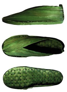 """Ionna Vautrin, design ludique et poétique """"palm shoes"""" CAmper, feuilles de palmier tissées"""