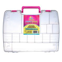 Loom & Band Organizer and Travel Case with handle- Pre-assembled!! Fits Rainbow® or Cra-Z-loom and over 7800 elastic rubber bands, charms and replacement picks- Clear plastic storage boxes join together to double capacity-Crazy Fun! Made in USA!