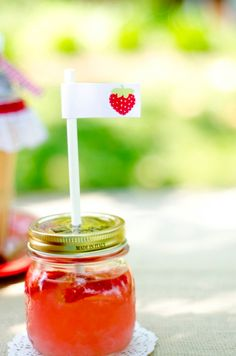 Strawberry Party PRINTABLE DIY Birthday Drink Flags by lovetheday, $3.00 line of printables