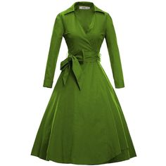 LUOUSE Women Vintage V-Neck 3/4 Sleeve 50s 60s Rockabilly Pinup... (1.700 RUB) ❤ liked on Polyvore featuring dresses, pin up dresses, vintage green dress, vintage pinup dress, vintage pin up dresses and 3/4 sleeve dress