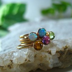 Gemstone Stacking Rings Choose your Stone/Peridot by MysticMoons