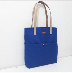 KAN03- Blue Canvas, Tote Bag, Metal Zipper, Handmade Bag, Genuine Leather Handle, Canvas Bag,  Shoulder Shopper Bag