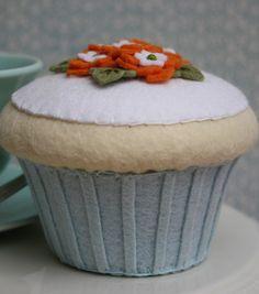 Felt Cupcake Vanilla With Aqua And Orange Flowers.