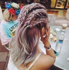 Flowers, Braids And Looking Undone: Festival Hair Inspiration 2015 Hair Day, New Hair, Girl Hair, Cornrows, Gorgeous Hair, Pretty Hairstyles, Unique Braided Hairstyles, Hairstyle Pics, Hairstyle Braid