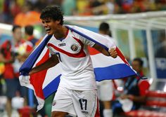 Costa Rica's Yeltsin Tejeda celebrates winning after their 2014 World Cup round of 16 game against Greece at the Pernambuco arena in Recife June 29, 2014.