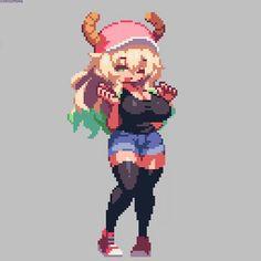 To discuss about the manga and anime Kobayashi-san Chi no Maid Dragon. Cool Pixel Art, Anime Pixel Art, Thicc Anime, Otaku Anime, Piskel Art, Arte 8 Bits, Pixel Animation, 8bit Art, Miss Kobayashi's Dragon Maid