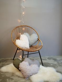 Vintage chair and pillows