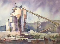 "Annie Haines on Instagram: ""Concrete plant in Oakland #watercolor #painting #art #urbanlandscape #cityscape #concreteplant #bayarea #artistsoninstagram #watercolour…"" Painting Art, Watercolor Painting, Urban Landscape, Annie, Concrete, Industrial, Artist, Plants, Instagram"