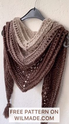 This Is Me Shawl - FREE crochet pattern - - Looking for a beautiful crochet triangle shawl pattern? The This Is Me Shawl is a free and simple pattern, including video tutorial and pictures to help you. One Skein Crochet, Crochet Wrap Pattern, Crochet Scarves, Crochet Patterns, Scarves & Shawls, Free Crochet Shawl Patterns, Crochet Infinity Scarf Free Pattern, Crochet Lace Scarf, Crochet Cowls