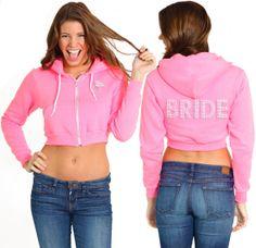 Rhinestone Bride Hoodie: Bride Gift, Cropped Bride Sweatshirt, Bride Coverup, Bride Zip, Bride Hoody