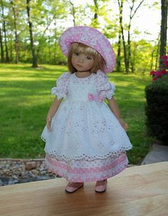 """3 PC Eyelet Pinafore Dress for Effner 13"""" Little Darling Doll by Idolldesigns   eBay. Ends 7/13/14."""