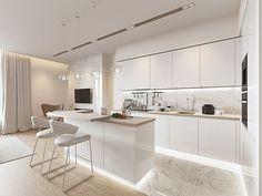 Кухня-гостиная в современном стиле. Пространство получилось очень легким и просторным. А как вы относитесь к объединению гостиной и кухни? Объединили бы вы эти два помещения в единое пространство? Пишите свои мысли в комментариях 😊  _________________________ Вам нужен дизайн интерьера или ремонт?  Пишите в Direct или звоните +7 (812) 406-95-14! _________________________