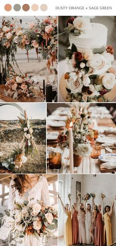 Top 14 Fall Wedding Color Combos and Trends for 2020 - trendy dusty orange and sage green fall wedding color inspiration for 2020 # - Green Fall Weddings, Fall Wedding Colors, Wedding Color Schemes, Sage Wedding, Rustic Wedding, Dream Wedding, French Wedding, Wedding Themes, Wedding Styles