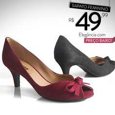 Sapato feminino de R$ 60,00 por apenas R$49,99!! COMPRE ONLINE