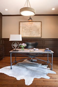 Masculine Office Space. Amanda Carol Interiors #curreyu0026company #aidengray  #restorationhardware