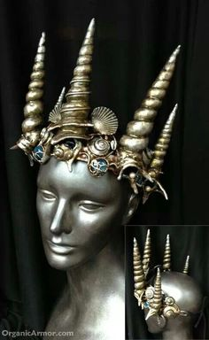 They call this the shell crown for the merking By organic armour Mermaid Headpiece, Mermaid Crown, Ariel Costumes, Male Costumes, Shell Crowns, Mermaid Cosplay, Mermaid Parade, Sea Witch, Mermaids And Mermen