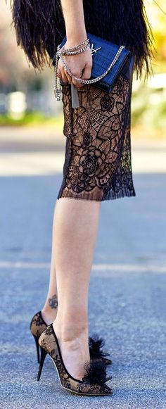 Black Lace Knee-length Skirt by Late Afternoon