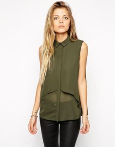 Double Layer Sleeveless Blouse At Asos