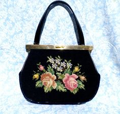 Black Floral Needlepoint 1960s Hand Bag Purse by FiligreeAndTheSea, $25.00