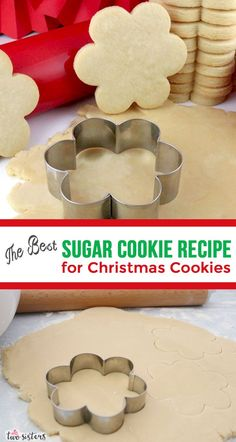 We've finally found The Best Sugar Cookie Recipe for Christmas Cookies. We've tried more Sugar Cookie recipes than we can count and we'll never use another one again. No chill dough - holds its shape - tastes amazing! Homemade Sugar Cookies, Best Sugar Cookies, Christmas Sugar Cookies, Chocolate Cookie Recipes, Easy Cookie Recipes, Sugar Cookies Recipe, Holiday Cookies, Christmas Desserts, Christmas Treats