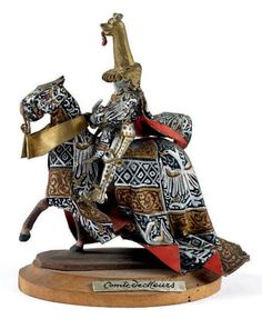 BALLADA. Moyen Âge. Le comte de Leurs à cheval en tenue de tournoi (1 fig.). Socle bois - Fraysse & Associés - 22/10/2014