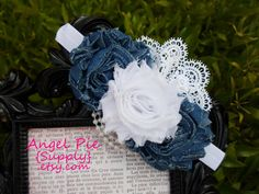 Denim and white shabby headband with lace and pearls