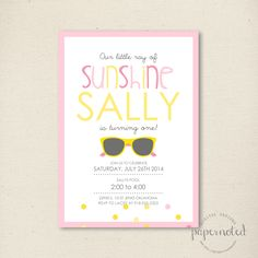 Sunshine Birthday Invitation // You are my Sunshine Birthday // Pool Party Invitation // Summer // DIY Printables by papernoteandco on Etsy https://www.etsy.com/listing/187415307/sunshine-birthday-invitation-you-are-my